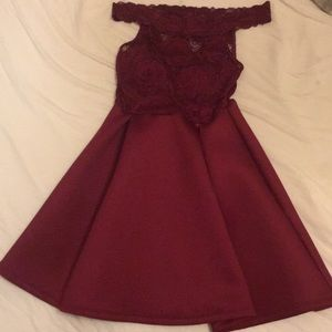 red off the shoulder homecoming/prom dress